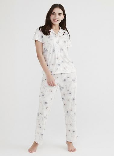 Penti Kadın Beyaz Dreamy Flowers Pijama Takım PNJM4WC821IY Beyaz